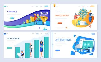 Set of landing page template for Finance, Investment, Accounting, Economic Growth