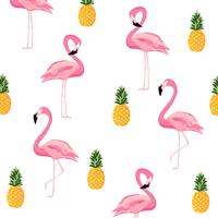 Pineapple and flamingo isolated seamless pattern background