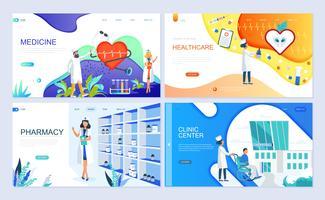 Set of landing page template for Medicine, Healthcare, Pharmacy