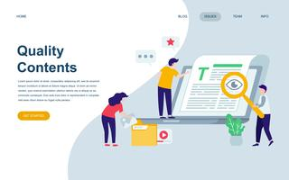 Modern flat web page design template of Quality Content vector