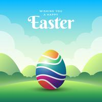 Happy Easter Design With Colorful Eggs Illustration