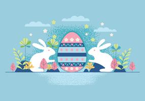 Happy Easter Rabbit Bunny with Eegs on Blue Background