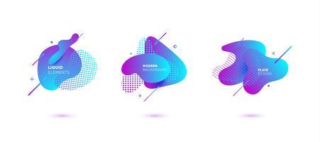Banners abstractos degradados con formas líquidas que fluyen vector