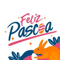 Hand Writing Feliz Pascoa Typography