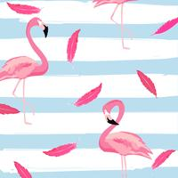Flamingo and pink feathers with stripes seamless pattern background
