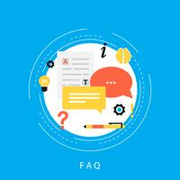 Concept FAQ, questions fréquemment posées, assistance client et assistance clientèle, conception illustration vectorielle plane informations produit et service pour bannières Web et applications