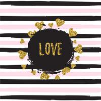 Gold glittering hearts pattern on striped background with love banner vector illustration