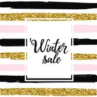 Winter sale baner on striped background vector illustration