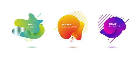 Elementi grafici colorati dinamici. Bandiere astratte di gradiente con le forme liquide scorrenti. Modello per la progettazione di un logo, un poster o una presentazione. Illustrazione vettoriale
