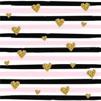 Gold glittering heart seamless pattern on striped background vector illustration