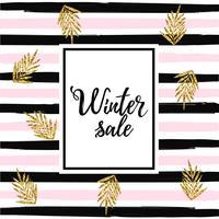 Baner de la venta del invierno en el ejemplo rayado del vector del fondo