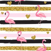 Gold glittering hearts and flamingos seamless pattern on striped background vector illustration