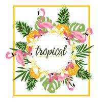 Tropical background with flamingos and pineapples