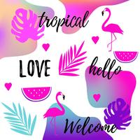 Tropical fluid background with flamingo bird, watermelon and tropical jungle leaves