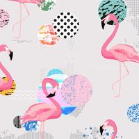 Trendy colorful background with flamingo birds