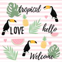 Pineapple, watermelon and toucan with stripes seamless pattern background