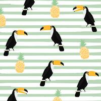 Pineapple and toucan with stripes seamless pattern background