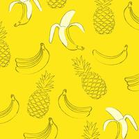 Yellow seamless pattern background with bananas and pineapples