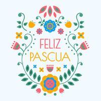 vettore di tipografia di feliz pascua