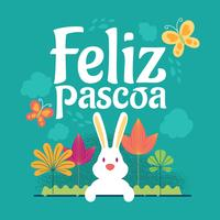 Happy Easter  or Feliz Pascoa Typographical Background With Rabbit And Flowers