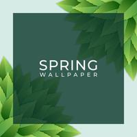 Spring Design Square Element With Green Leaves Background