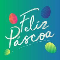 Feliz Páscoa texto letras em elemento de ovos de língua espanhola