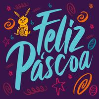 Feliz Pascoa Lettering Colorful Composition Pattern Illustration