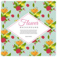 Flat Vintage Style Flower Vector Background Template