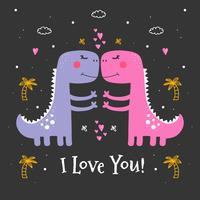 Vector de dinosaurio día de san valentín