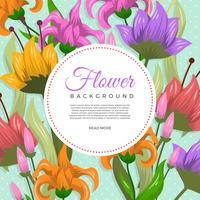 Flache dekorative Blumen-Vektor-Hintergrund-Schablone