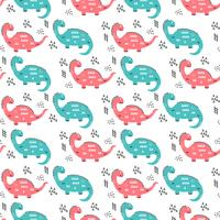 Hand Drawn Dinosaurs Pattern Vector