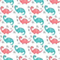 Dibujado a mano patrón de dinosaurios vector