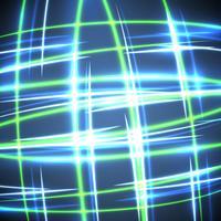 Cerchi confusi al neon su una priorità bassa blu, illustrazione di vettore.