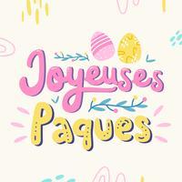 Vettore di tipografia di Joyeuses Pâques