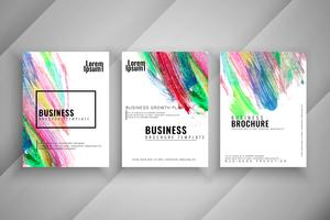 Abstract colorful three modern buisness brochure set