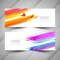 Abstract elegant colorful watercolor banners set
