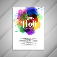 Modèle de conception abstraite Happy Holi célébration flyer coloré