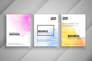 Conjunto de modelo de brochura de negócios aquarela abstrata