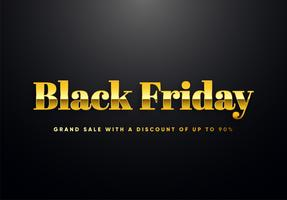 Black Friday gold letters vector illustration