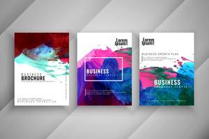 Abstrakt vattenfärg affär broschyr mall set
