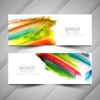 Abstracto moderno colorido acuarela banners conjunto de plantillas