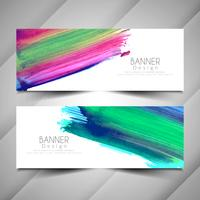 Set di banner acquerello elegante colorato astratto