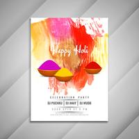 Abstract Happy Holi celebration colorful flyer design template