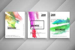 Conjunto de brochura colorido abstrato três negócios