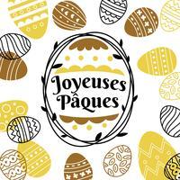 Typographie de Pâques ou Joyeuses Pâques en noir et or