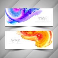 Ensemble de modèles de bannières aquarelle coloré moderne abstrait