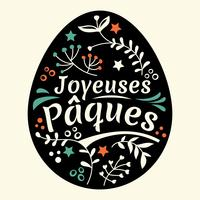 Happy Easter Lettering or Joyeuses Pâques with Eggs and Leaves Background