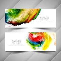 Abstract colorful watercolor stylish banners set