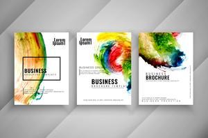 Abstracte kleurrijke drie buisjes brochure sjabloon set