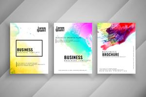 Abstract watercolor stylish business brochure template set